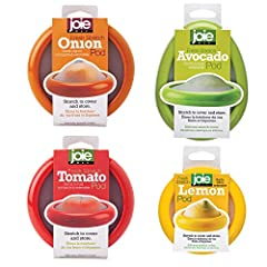 Joie's Fresh Stretch Pods Set of 4 (Onion, Avocado, Lemon and Tomato) for storing cut food in the refrigerator, keep them fresh and firm, and contain their odor for longer periods of time Made from LFGB-approved ABS and silicone; strong, durable, eco...