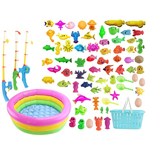 Batop Angelspiel badewanne, 80Pcs Bade Angeln Spielzeug mit Schwimmenden Fisch, Magnetic Angelrute und 60cm Schwimmbad, Badespielzeug für Kinder ab 3 Jahre