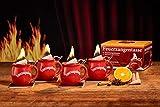 Feuerzangentasse 4er-Set, mit Rum (100ml) + ZimtZuckerHütchen (20er), Rot - für Feuerzangenbowle