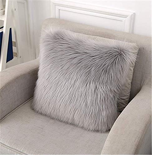 Housses de coussin carrées décoratives en fausse fourrure pour salon, canapé, chambre à coucher, voiture, gris, 40 x 40 cm