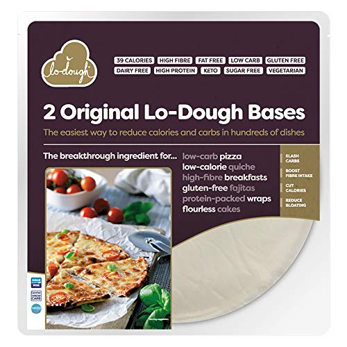 8 Original Lo-Dough Bases - The Incredibly Low Calorie Bread & Pastry Alternative. Only 39 Calories, Gluten Free, Low Carb & Keto Friendly, High Fibre. Sugar Free & Zero Fat. (4)
