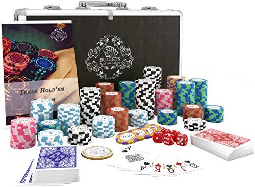 Bullets Playing Cards - Pokerkoffer deluxe Pokerset mit 300 Clay Pokerchips Carmela, Poker-Anleitung, Dealer Button und Bullets Plastik Pokerkarten