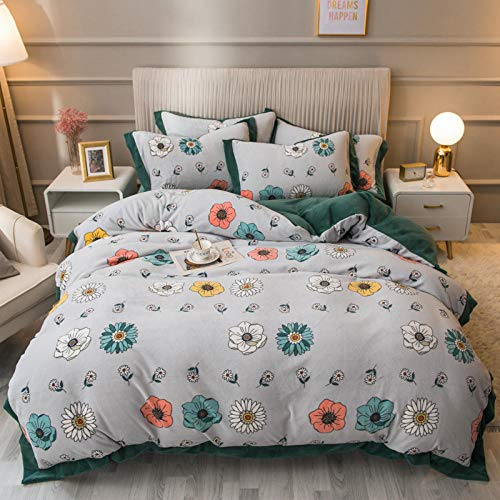 BEDASOFT Wide side plush breathable Design Duvet Cover Bedding Set With Pillowcases, Comfortable, Double A17