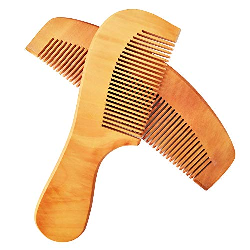 Natural Wooden Hair Comb Set - 2 Pcs - Peach Wood with Anti-Static - Handmade Premium Comb for Beard and Hairs - Massage Scalp for Men and Women Medium to Thick Hair - Best Gift Idea