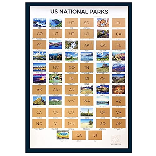 National Parks Scratch Off Map -National Parks Map w/ ALL 63 Parks Scratch Off Poster...