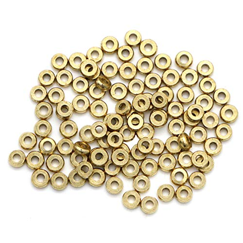 Monrocco 100 Pcs 4mm Brass Flat Round Metal Disc Spacer Beads Round Bracelet Necklace Connector Charms Rondelle Beads for Jewelry Making