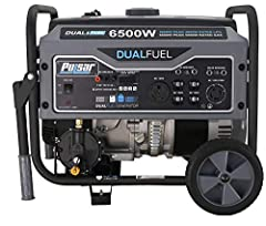 6,500 Peak Watts/ 5,500 Running Watts Features 120v and 240v Output Strong 274cc, 8 HP engine protected by a durable powder coated frame Gasoline/LPG Dual Fuel 12 Hour Run-time at Half Load (on single tank of fuel)