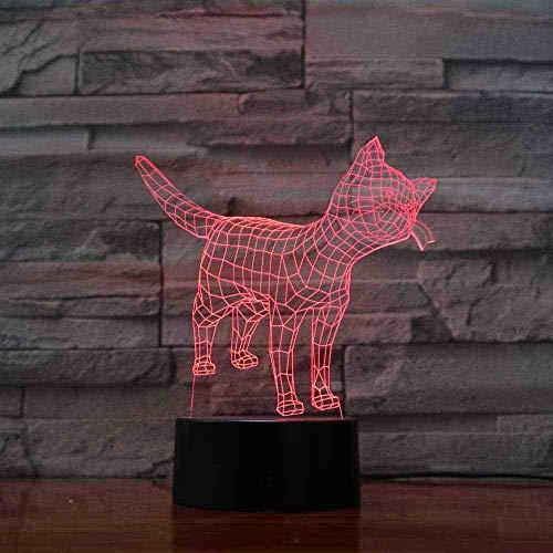 CDBAMX creative 7 Changement de Couleur 3D Led Animaux Nuit Lumières Usb Touch Visuel Chat Lampe De...