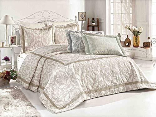 Royal Nazik Bettwäsche-Set, sehr luxuriös und weich, Perlen, 100 % türkischer Baumwoll-Satin, Jacquard + Spitze, Tagesdecke, King-Size-Größe, beige, Kingsize