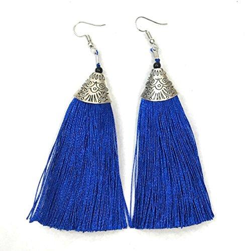 Long Funky Royal Blue Tassel Chandelier Dangle Party Earrings