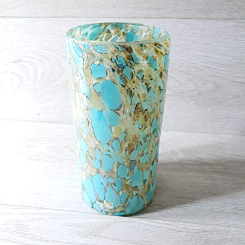 La Galeria Design Sirena Turquesa Edition - Mexicaanse handgeblazen vaas, marmer en turkoois van gerecycled glas