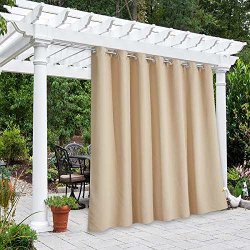 home patio curtains NICETOWN Extra Wide Outdoor Curtain for Patio Waterproof, Grommet Thermal Insulated Room Darkening Safe Public Divider Drape for Outdoor Living/Pool/Garden (Biscotti Beige, 1 Pack, W100 x L84)