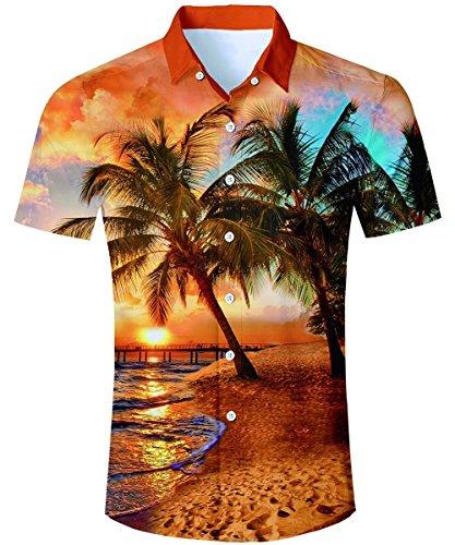 AIDEAONE Herren Hawaiian Style Hemd Kurzarm Tropisch Hemd Urlaub Hemden