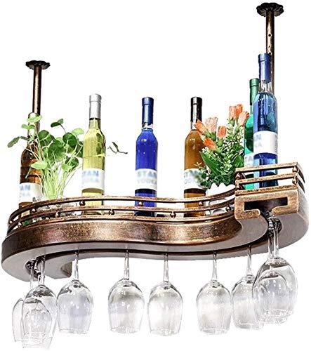TUHFG Botellero rústico apilable, Vino Estante de Madera Europea de Bronce Creativo sType Vino del hogar del Estante al revés cáliz Estante del Vino Estante de la Barra Que cuelga gabinete del Vino