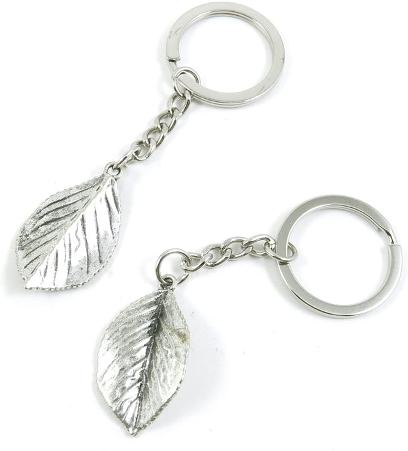 100 Pieces Keychain Keyring Door Car Key Chain Ring Tag Charms Bulk Supply Jewelry Making Clasp Findings T1IF1W Leaf Leaves
