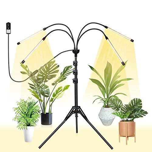 FUJIWAY LED Pflanzenlicht mit Stativ 80W Pflanzenlampe für Zimmerpflanzen Wachstumslampe 4 Heads Wachsen licht Vollspektrum mit Zeitschaltuhr 3/9/12H, Stativ verstellbar 32-160cm by