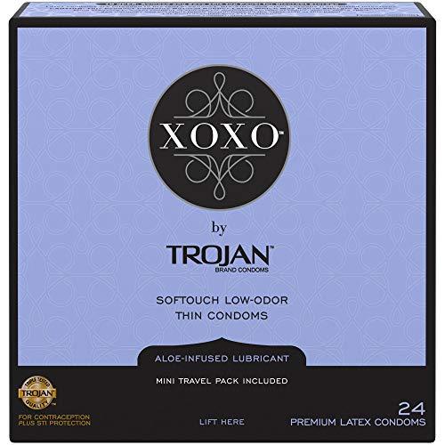 Trojan XOXO Thin Softouch Lubricated Latex Condoms, 24ct