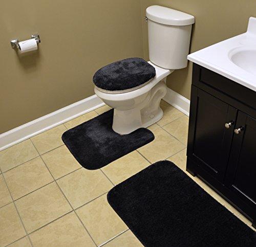Garland Rug Traditional Bath Rug Set, 3-Piece Set, Black