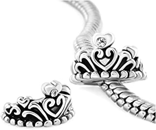 Crown Girls' Charms Clear White Crystal Heart Princess Crown Beads For Bracelets
