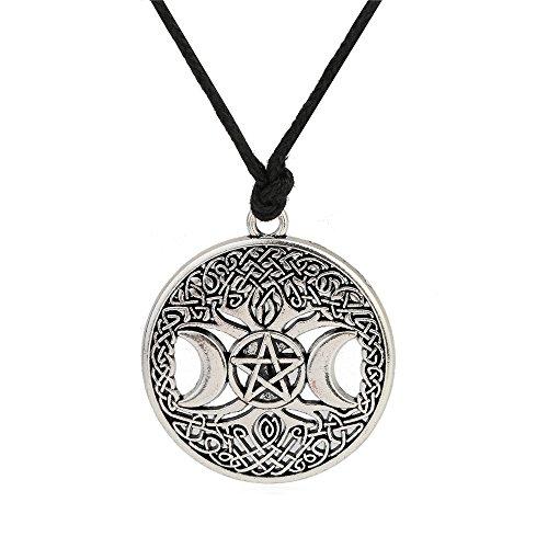 Skyrim Wicca Triple Moon Diosa Pentáculo Collar con colgante de cadena ajustable