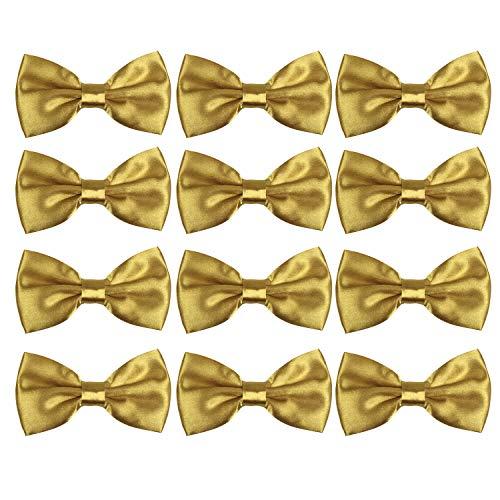 Neck Bowtie Tuxedo for Men Adjustable Solid Satin Pre-tied 12 Pcs Wedding Party (Gold)