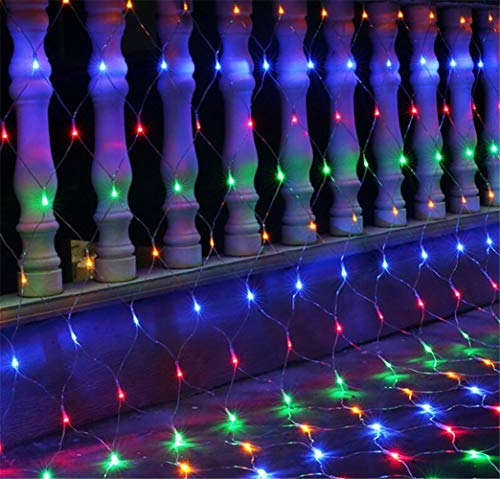 YXNN Colorful LED Curtain Lights, Fairy Net Light 8 Modes Outdoor/Indoor Decorative Mesh Lights Waterproof Business Kindergarten Family Garden Party Wedding Gift Decoration