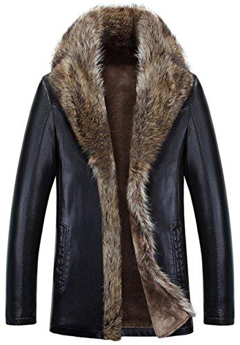 moxishop Herren Luxuriöse Waschbär Pelz Kragen Schafhaut Mantel Warm Winter Parka Oberbekleidung Long Raccoon Fur Coats (X-Large, E1080-Schwarz)