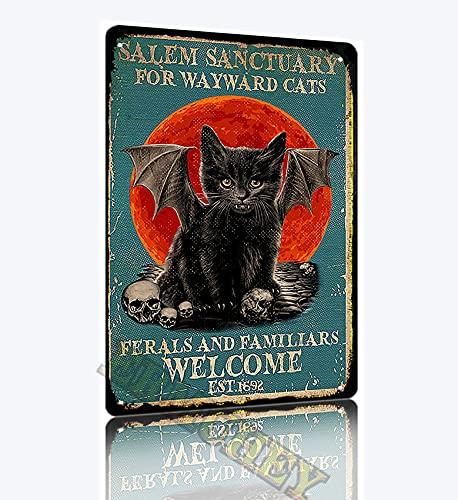 SAODOMA Salem santuario para gatos wayward Ferals and Familiars Welcome est 1962 vintage retro cartel decoración de pared casa jardín oficina bar club moda hombre cueva lata signo 30x20cm