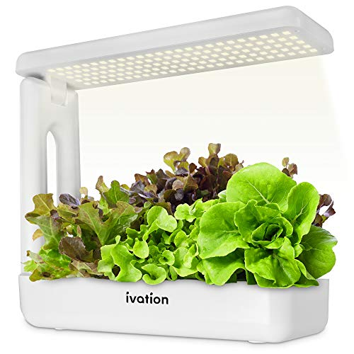 Ivation Herb Indoor Garden Kit   Complete Hydroponic Grow System for Herbs, Plants & Vegetables with LED Light, Seeding Box & Sponge Cubes, Planting Pods & Hats, Nutrients & Tweezers   Just Add Seeds!