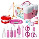 ThinkMax Dentist kit for Kids, 15 pcs Kids Pretend Dentist Playset Toys Dentist Medical Role Play Educational Toy Doctor Playset for Girls Boys and Toddlers(Pink)