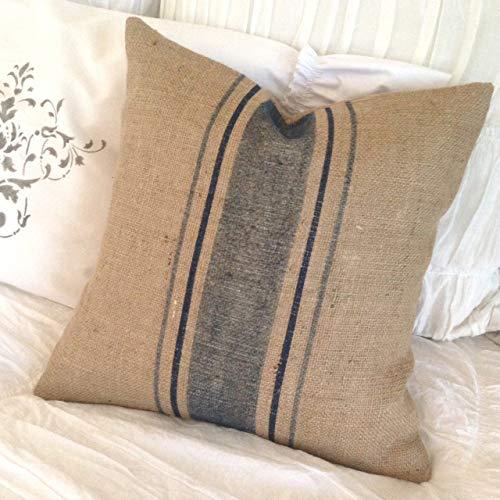 Ethelt5IV - Funda de Almohada de arpillera Francesa con Rayas Azules para decoración de casa de Campo