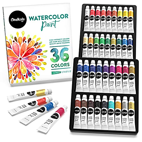 Chalkola Watercolor Paint Set - 36 Watercolor Tubes Set (12ml, 0.4oz) | Rich Pigment, Vibrant, Non Toxic Water Colors for Adults, Kids, Beginner & Professional Artists - Watercolor Painting Supplies