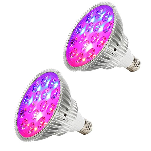 OOFAY LIGHT Grow LED Luci Piante Derlights 45W E27 Full Spectrum 15Leds Pianta Leggera per Interno Giardino Hydropoics Plant (2Pack)