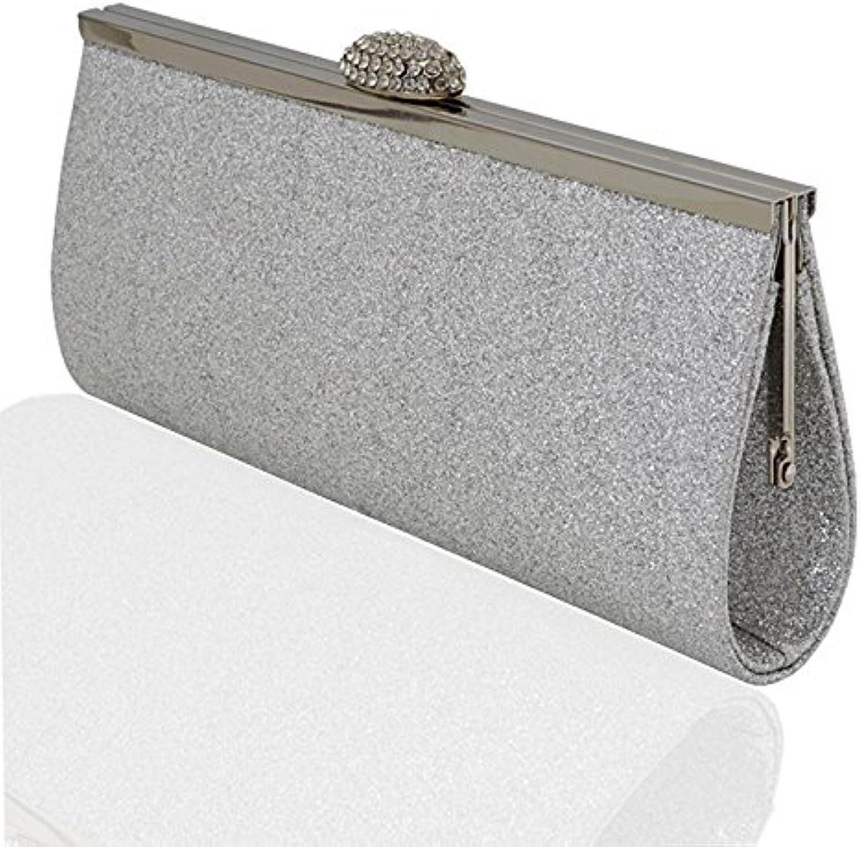Essex Glam Womens Evening Glitter Satin Bridal Clutch Bag