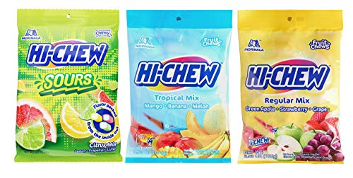 Morinaga Japanese Hi Chew Sours Citrus Tropical And Original Mix 3 Packs Set