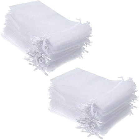 Delsen - 100 sacchetti grandi in organza, con coulisse in raso, 13 x 18 cm, utilizzabili come sacchetti per caramelle, gioielli, per matrimoni, feste di Natale, bomboniere (bianco) 10*15 bianco
