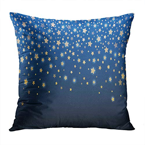 Janyho Pillowcase Celebration Golden Stars Confetti Abstract Festive Sparkling Garland Shiny Magical Winter Blue Household Easy to Clean and Durable Soft Decorative Polyester Pillowcase Square Sofa