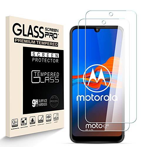 HJX Protector de Pantalla para Motorola Moto E6 Plus [2-Pack], Vidrio Templado de 9H Dureza, 2.5D Alta Definicion Sin Burbujas, Alta Sensibilidad, Motorola Moto E6 Plus Protector de Pantalla