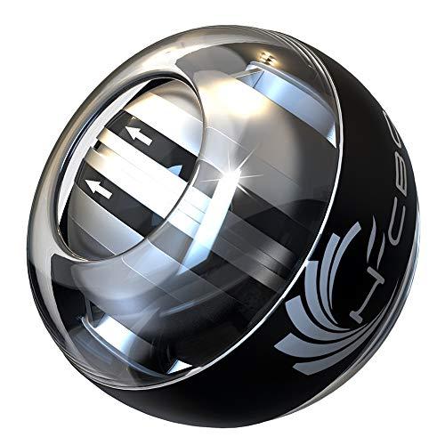 スナップボール オートスタート LED発光 手首 リストトレーナー 腕力 握力 筋力 トレーニング ジャイロ回転 自動回転 初心者 上級者 専用ケース付きで収納も便利 (ホワイト)