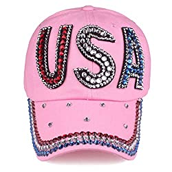 Pink1 Studded Rhinestone Crystals Adjustable Baseball Cap