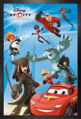 1art1 Disney Infinity Poster et Cadre (MDF) - Endless Fun, Jack Sparrow, Davy Jones, Mike, Sulley, Flash McQueen (91 x 61cm)