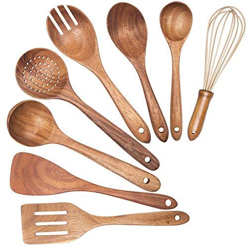 tellaLuna Utensilios de Madera para Cocina. Cucharas de Madera para Cocinar EspáTula de Madera Cuchara de Drenaje Batidor y Tenedor para Ensalada. Utensilio de Cocina