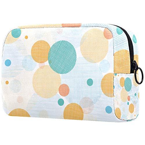 AITAI Bolsa de maquillaje grande bolsa de viaje organizador de cosméticos amarillo azul círculo círculo patrón