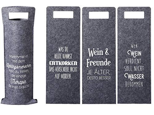 Bada Bing 4er Set Geschenkverpackung Wein Filz Mit Spruch Flaschenverpackung Tasche Für Weinflasche Gift Package Geschenktasche Flaschentasche 4fach Sortiert 88