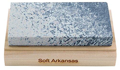 RH PREYDA Soft Arkansas Schleifstein, Körnung 400-600, Stein 100x50x12 mm, Holzplattform