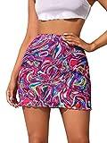 Floerns Women's Summer Tie Dye Lettuce Trim High Waist Bodycon Mini Skirt Multi M