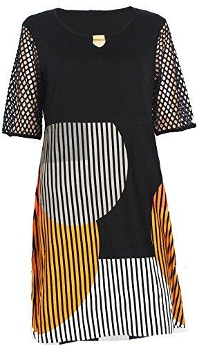 Doris Streich Damen Jerseykleid Kleid Streifen schwarz orange weiß (36)