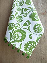 VLiving Kitchen Towel Dish Towel Tea Towel Green Floral Print on White Folk Art 100% Cotton Size 20
