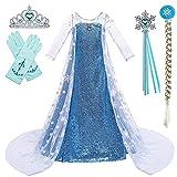 BanKids Elsa K32 - Vestido para niña (130 cm, para Navidad, Halloween, con capa, corona, varita mágica, 6-7 años)