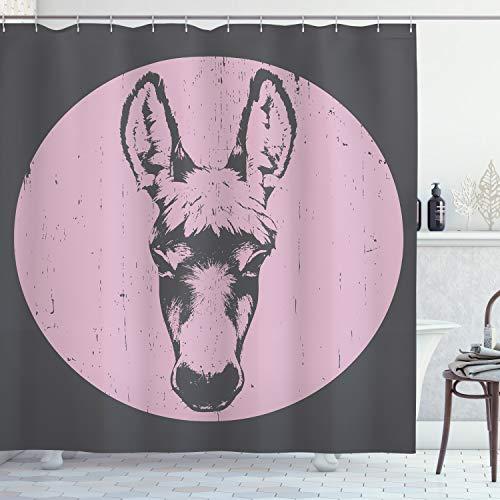 ABAKUHAUS Esel Duschvorhang, Grunge Erscheinungsbild Tierportrait, mit 12 Ringe Set Wasserdicht Stielvoll Modern Farbfest & Schimmel Resistent, 175x180 cm, Baby Pink & Grau